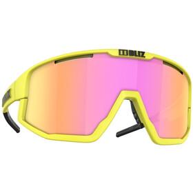 Bliz Fusion Glasses matt neon yellow/brown with purple multi